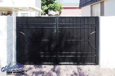 Wrought Iron Driveway Gate - DG0351 Double Gate, Double Doors, Wrought Iron Driveway Gates, Door Gate, Block Wall, Las Vegas, Doorway, Floor, Entrance