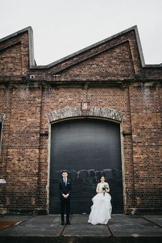 I've seen a couple like this- couple standing apart with a large wall behind them - Tap the link to shop on our official online store! You can also join our affiliate and/or rewards programs for FREE! Wedding Photoshoot, Wedding Shoot, Wedding Pictures, Industrial Chic, Industrial House, Industrial Lighting, Industrial Closet, Industrial Bookshelf, Industrial Windows