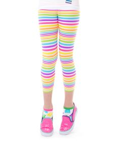 Look what I found on #zulily! LittleMissMatched Yellow & Pink Stripe Capri Leggings - Girls by LittleMissMatched #zulilyfinds