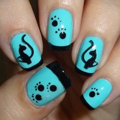 Blue & Black Cat Mani #bluemani #catlady #nailart - bellashoot.com