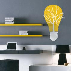 CREATIVE DESIGN Eco Bulb Tree Wall Decal Art by LifeColorsCity, $12.00