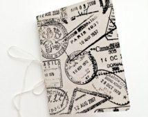 Travel Journal, Journal with Passport Stamped Design