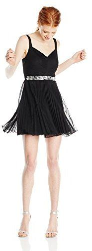 Speechless Juniors Tulle Pleat Bust Jewel Waist Trim Dress