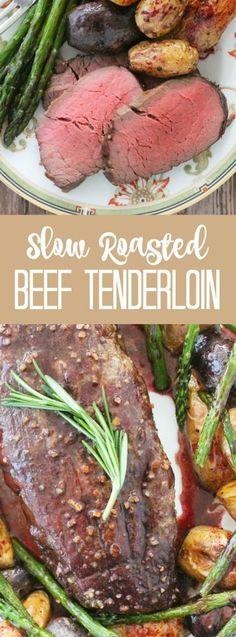 Slow Roasted Beef Tenderloin - with red wine pan sauce - Foodtastic Mom - Slow Roasted Beef Tenderloin, Best Beef Tenderloin Recipe, Slow Roast Beef, Perfect Beef Tenderloin, Tenderloin Steak, Roast Brisket, Beef Steaks, Sirloin Roast, Beef Dishes