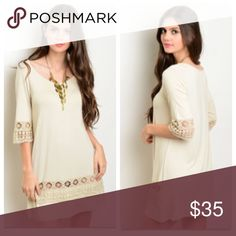 Only Medium and Large Left! Boho Crochet Dress 🎉Host Pick🎉 Boho chic shift dress with crochet details on the sleeves and near the hem. Perfect dress to accessorize and make your own. Made of a polyester/spandex blend. Available in medium and large. Dresses Mini