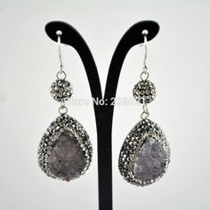 4Pair Pave Rhinestone Crystal Ball With Druzy Drusy Quartz Stone Charms Dangle Earrings Jewelry Making