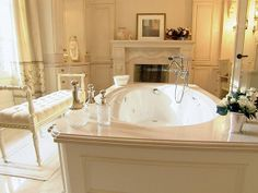 omg...can i have a fireplace in the bathroom...