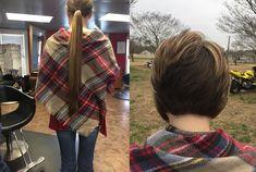 Before And After Haircut, Rapunzel Hair, Short Blonde, Long Hair Cuts, Hair And Nails, Plaid Scarf, Madness, Short Hair Styles, Bob