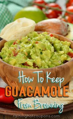 How To Keep Guacamole From Browning Sponsored Link *Get more FRUGAL Articles, tips and tricks from Raining Hot Coupons here* Repin It Here How To Keep Guacamole From Browning There is nothing better than a fresh bowl of homemade guacamole and crispy tortilla chips. However, one avocado can make a lot of guacamole which usually …