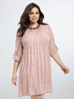 Heart Print Chiffon Shirt Dress From the Plus Size Fashion Community at www.VintageandCurvy.com