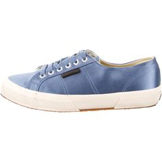 Pre-owned Superga x Man Repeller Sneakers ($75) ❤ liked on Polyvore featuring shoes, sneakers, blue, satin shoes, blue satin shoes, superga, laced up shoes and blue shoes