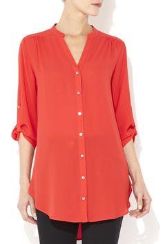 Red V-Neck Longline Shirt