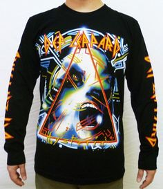 Def Leppard Hysteria long sleeve T-Shirt Rock Music Band Retro Vintage Metal New #cyclefurious #BasicTee