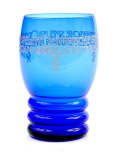 Blue glass memorial beaker Olympiade 1928 engraved with the text Olympische Spelen Amsterdam 1928 design A.D.Copier executed by Glasfabriek Leerdam / the Netherlands1928