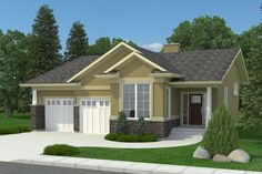 The Craftsman Truesdale-1369 is a mid sized bungalow with an efficient use of space, and a lot of street appeal. This craftsman plan features: 2 cargarage Sunkenfoyer and den Large mudroom with laundry 1 bedroom, 1.5 baths Openconcept living area with 3-sided gas fireplace Covered rear deck