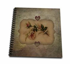 3dRose db_173105_1 Vintage Look Peach Roses and Hearts Drawing Book 8 by 8Inch * You can find out more details at the link of the image.