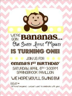First Birthday Party - Girl Monkey Themed Party