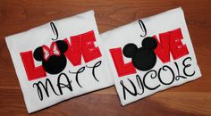 Mickey Minnie Mouse LOVE Disney tshirts by suestevepat on Etsy, $24.00 -Disney couple shirts are the cutest. Someone go warn my boyfriend. He's about to have a whole new wardrobe full of disney couple shirts :P