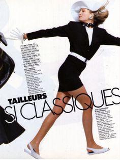 """""""Tailleurs Passi Classiques"""" ELLE 9 Mars 1987 Estelle Lefebure & Frédérique van der Wal by Bill King"""
