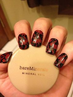 Black and Red Fleur de Lis Lace Jamberry Nail Wraps -- last 2 weeks on the fingers, 6 weeks on the toes!  http://staciaporter.jamberrynails.net/home/ProductDetail.aspx?id=1599#.Ub8SKee38xE  #nailart #nails #jamberry #goth #black  #red #lace
