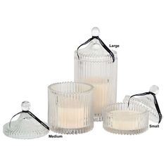 Ribbed Glass Candle Pot in Large by S & P
