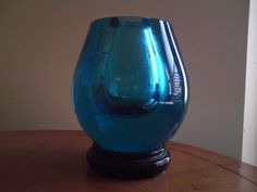 Aqua blue etched engraving seal marks Chinese glass vase Republic period