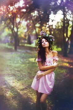 flower crown beautiful outdoor photography