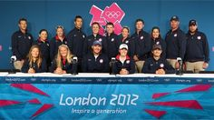 The USA Sailing team lines up for a team photograph during a Team USA press conference at Weymouth & Portland.Olympics #Olympics