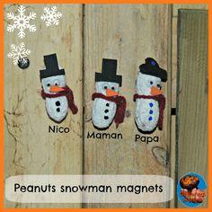 Painted Peanut Snowmen Magnets