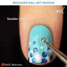 Girls Nail Designs, Nail Art Designs Videos, Diy Nail Designs, Simple Nail Designs, Easy Kids Nails, Simple Gel Nails, Nail Art For Kids, Nail Art At Home, Nail Art Hacks