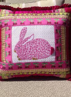 Kate Dickerson bunny stitched by Jeannine Bartnicki & finished by Chaparral Needlepoint, Houston