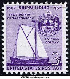 Postage stamp USA 1957 Virginia of Sagadahoc