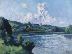 Maximilien Luce 1858 - 1941 PAYSAGE DE ROLLEBOISE signed Luce (lower right) oil on canvas 54 by 73.1cm.