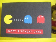 Pac Man birthday card using stationery stickers