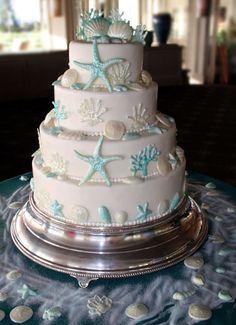 ocean cake for a beach wedding