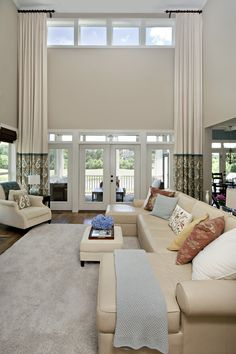 Custom Drapes like how just the bottom fabric matches the pillows - Difinans High Ceiling Living Room, Living Room Drapes, Fall Living Room, Living Room Windows, Living Room Modern, Living Room Designs, Living Room Decor, Tall Window Treatments, Window Treatments Living Room