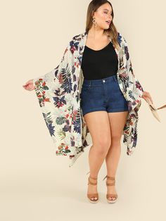 Shop Plus Tropical Print Open Front Kimono online. SheIn offers Plus Tropical Print Open Front Kimono & more to fit your fashionable needs. Curvy Girl Outfits, Curvy Girl Fashion, Plus Size Outfits, Plus Size Fashion, Fashion Women, Petite Fashion, Cute Summer Outfits, Casual Outfits, Plus Size Kimono