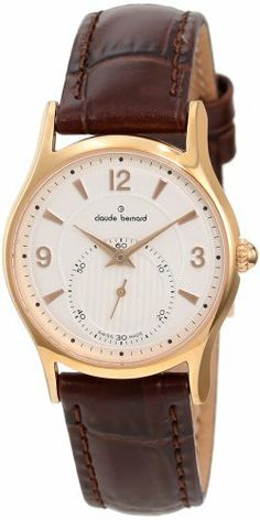 Claude Bernard Women's 23091 37R AIR Classic Ladies Rose Gold PVD White Dial Leather Watch claude bernard. $281.25. Brown leather strap. Sub-second dial with minute track. Water resistant up to 99 feet (30 m). White dial with rose gold indices. Rose gold pvd coated stainless steel case. Save 25% Off!