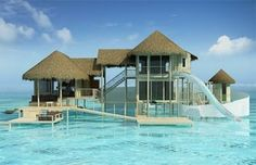 Waterslide Beach Cottage, The Maldives - How cool is this!