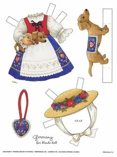 """""""friends around the world"""" paper doll outfit for blonde doll ~ by ruth moorehead"""