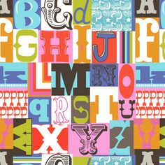 Maude Asbury - Gabbie - Letterpress in Multi-- fabric by-the-yard-- would be PERFECT for my new niece/nephew