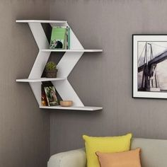 The newest catalog of corner wall shelves designs for modern home interior wall decoration latest trends in wooden wall shelf design as home interior decor trends in Indian houses Corner Shelf Design, Corner Wall Shelves, Wooden Wall Shelves, Wall Shelves Design, Wooden Shelf Design, Wood Shelf, Unique Wall Shelves, Kitchen Shelves, Glass Shelves