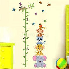 Nursery Height Chart Wall Sticker - Animal Safari Stack ; Free Shipping on orders over $50 australia wide;