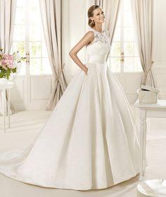 A-line Scoop Chapel Train Satin Wedding Dress - HerBridal Singapore