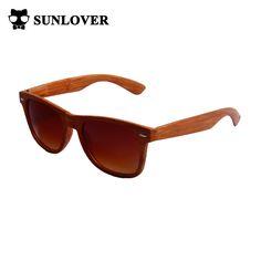 Sunlover New fashion Products Men Women Glass Wooden color Sunglasses au Retro Vintage Wood Lens Wooden Frame Handmade