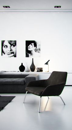 A simple black and white living room