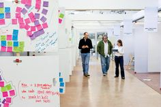 """<p>In the main class area, walls can be reconfigured at will. Whiteboards, which show how messy creativity can be, invite input. """"As you walk along, you can see what others are up to,"""" says designer Scott Doorley, """"and perhaps contribute an idea to somebody else's project.""""</p>"""