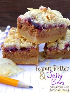 Peanut Butter & Jelly Bars with a Potato Chip Shortbread Crumble