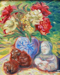 A personal favorite from my Etsy shop https://www.etsy.com/listing/386144520/red-peonies-pinecones-still-life
