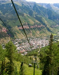 Telluride, CO. The free gondola ride up from Telluride to Mountain Village. This is really pretty in the evening.